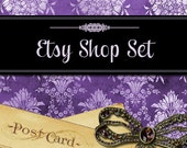 Premade Etsy Shop Set, Banners, Avatars, Thank you graphics, Vintage Damask Purple Lavender Jewelry Bow Old Postcards