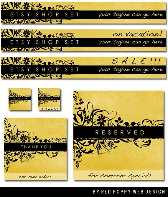 Etsy Banner Set Yellow Black Floral Grunge Premade Etsy Shop Set Store Banners Avatar Graphics