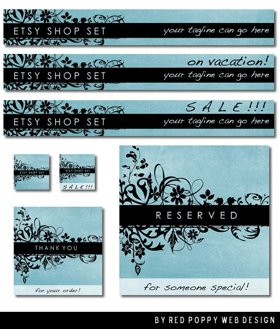 Etsy Banner Set Blue Black Floral Grunge Premade Etsy Shop Set Store Banners Avatar Graphics