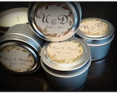 10 Party Favors Natural Pure Hand Poured Soy Candles Travel Tin with Personalized Label