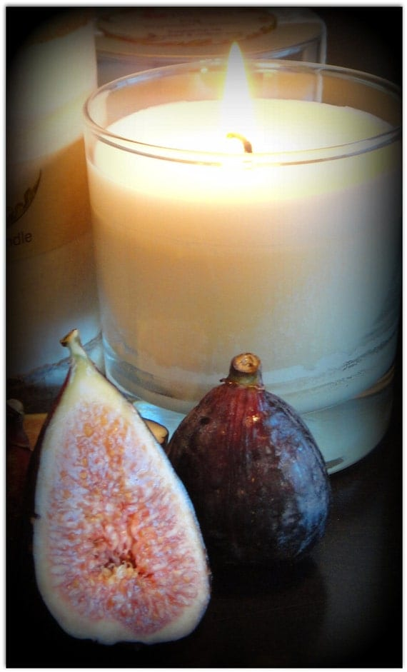 On Sale - Soy Candle Fig Scented Premium Fragrance in Glass Jar with Recycle Paper Gift Box Eco Friendly