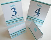 As seen in BRIDES Magazine  -- Printable Blue Table Number Cards with Matching Place Cards