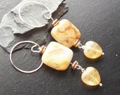 RESERVED LISTING for Mary Anne-Rutilated quartz heart and crazy lace agate gemstone earrings -Vanilla Cream