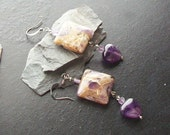 Amethyst heart gemstone earrings -February's Heart Part II