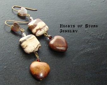 Sesame jasper heart gemstone earrings with pietersite and zebra jasper-Mocha Latte Love-Brown, Cream, Tan, Caramel on Gold