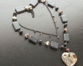 Ghost's eye jasper gemstone heart necklace with blackstone and blackened brass -Shadows