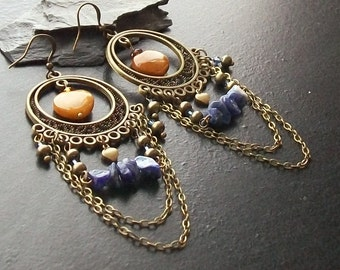 Golden agate heart gemstone chandelier earrings with sodalite-Gifted at the 2012 Academy Awards-Oscar Loves Boho Chic-Denim Blue, Yellow
