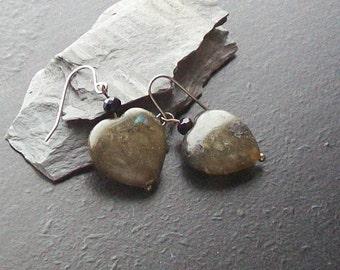 Labradorite heart gemstone earrings -Sweet-n-Simple 116-Blue Flash, Large Heart, Black, Grey