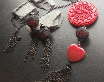 Red jade gemstone heart and double Happiness cinnabar choker set -I Heart the Orient -Deep Red and Black on Blackened Brass