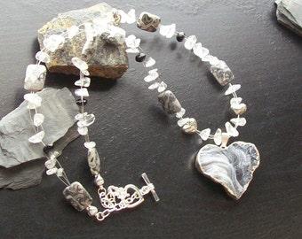 Druzy geode heart gemstone necklace-quartz chips, spinel and grey leopardskin jasper-My Heart Shines -Gray, White, Black on Silver