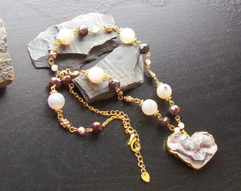 Geode druzy heart gemstone necklace with geode druzy beads, poppy jasper-My Crystalline Heart