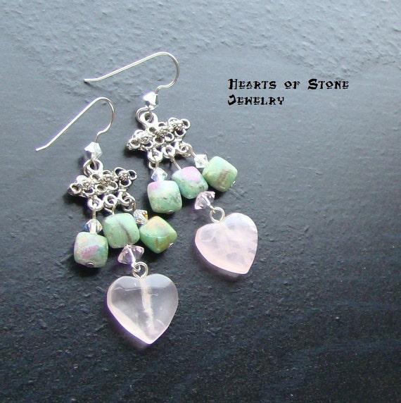 Rose quartz heart gemstone earrings- Ruby in Love -CLEARANCE