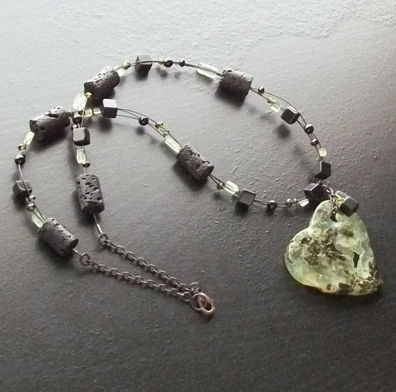 Prehnite heart gemstone necklace with tourmaline and lava and blackened brass -Prehistoric Love -Green, Light Green, Black