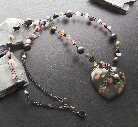 Blossom jasper gemstone heart choker with tourmaline and obsidian- Duplicate of choker gifted to Drew Barrymore-Drew's Midnight Lily Pond