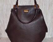 vintage AUTHENTIC COCOA LEATHER GIANFRANCO FERRE BOWLING BAG oversized handbag purse designer