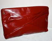 HALSTON Vintage Red Twisted Leather Handle Large Clutch - AUTHENTIC -