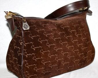 GIVENCHY Vintage Handbag Brown Suede Leather Monogram Tote - AUTHENTIC -