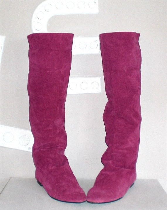 trendy fuchsia suede boots knee high flat shoes low heel