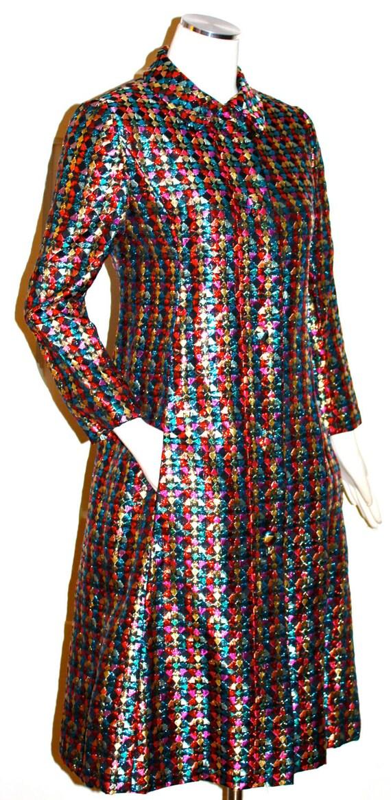 Rockstar Vintage MALCOLM STARR Metallic Multi-Colored Opera Coat Jacket Dress