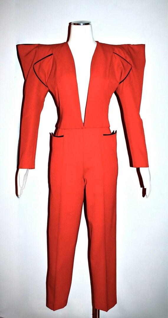 Early Vintage KAMALI OMO Wool Michael Jackson Style Bolero Slim Pant Suit 1970's