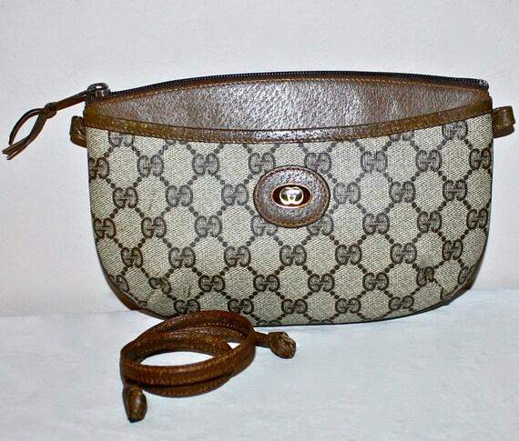 Vintage GUCCI Clutch Brown Leather Monogram Bag -Authentic-