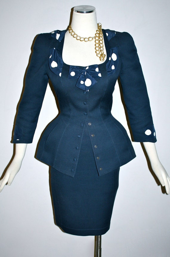 Vintage THIERRY MUGLER Suit Navy Polka Dots Wiggle 50s Skirt