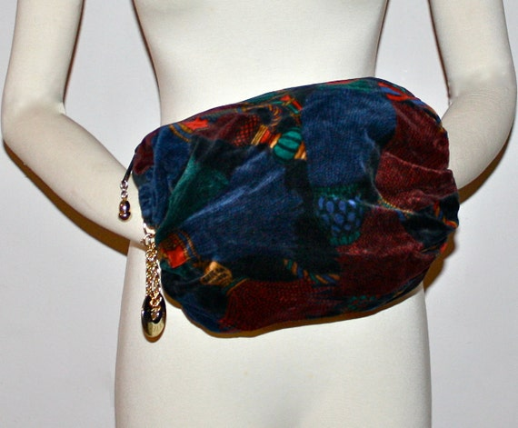 Reserved............................ Vintage BOTTEGA VENETA Colorful Velvet Hand Muff Large Medalion Barrel Bag