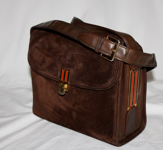 Authentic Vintage GUCCI Brown Suede Leather Enamel Striped Box Tote