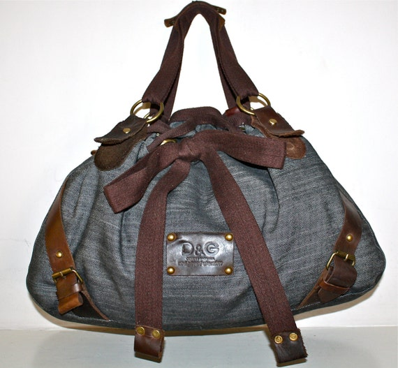 Amazing Authentic Vintage D&G by DOLCE and GABBANA Denim Leather Large Tote