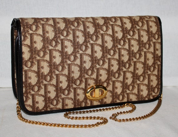 Vintage CHRISTIAN DIOR Authentic Monogram Brown Chain Convertible Clutch
