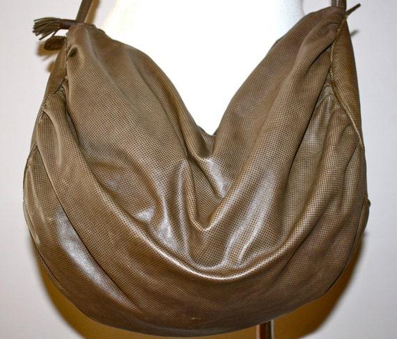 Vintage BOTTEGA VENETA Huge Taupe Leather Slouchy Hobo Tote