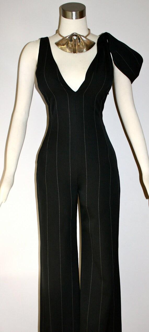 Vintage GIANNI VERSACE COUTURE Jumpsuit Pinstripe Deep V One Piece Pantsuit