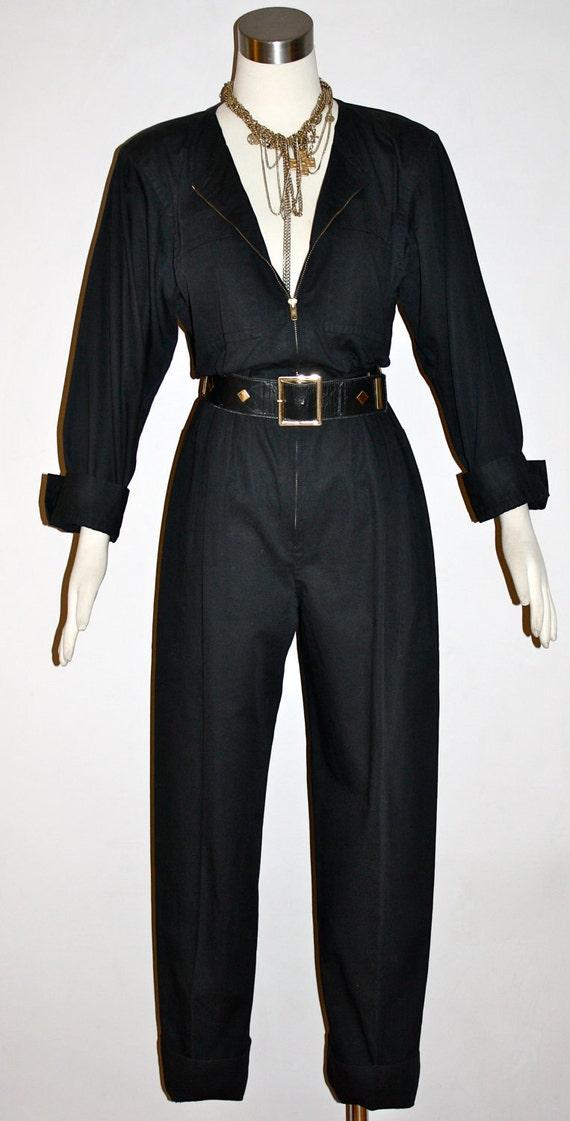 Vintage YVES Saint LAURENT Rive Gauche Jumpsuit Cotton One Piece with YSL Studded Belt