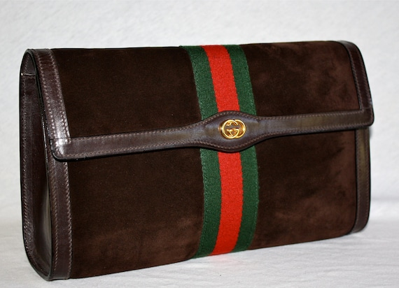 VINTAGE GUCCI Clutch Brown Suede Large Web Stripe
