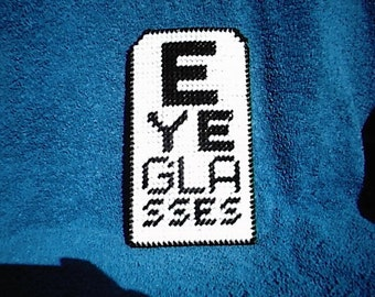 Eye Chart Eyeglass Case made out of plastic canvas