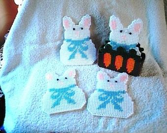 Plastic Canvas Easter  Bunny Rabbit Coaster Set