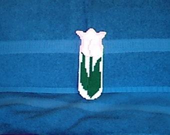 Pink Tulip Bookmark Plastic Canvas