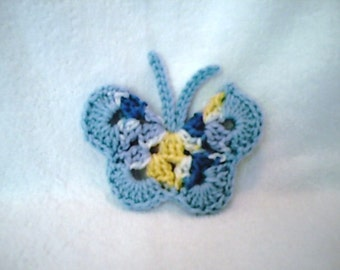 Light Blue Multicolored Crocheted Butterfly refrigerator magnet