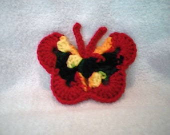 Magnet Butterfly Red Multi Colored Crochet