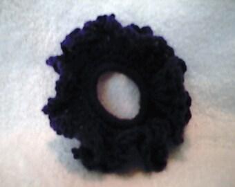 Crocheted Purple Ruffle Hair Scrunchie