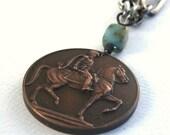 Uruguay Horse Medal Silver Necklace- Vintage Assemblage