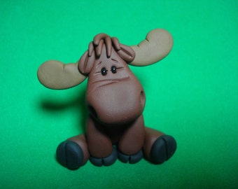 Moose Clay Figurine
