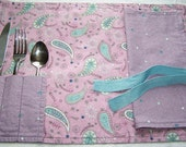 Paisley And Polka Dots Roll and Go Travel Placemat/Napkin Set