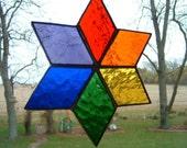 Stained Glass Rainbow Star Sun Catcher