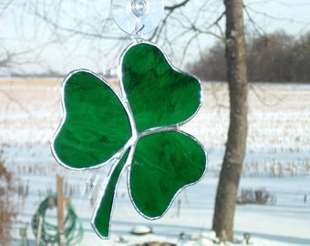 Irish Shamrock Stained Glass Suncatcher