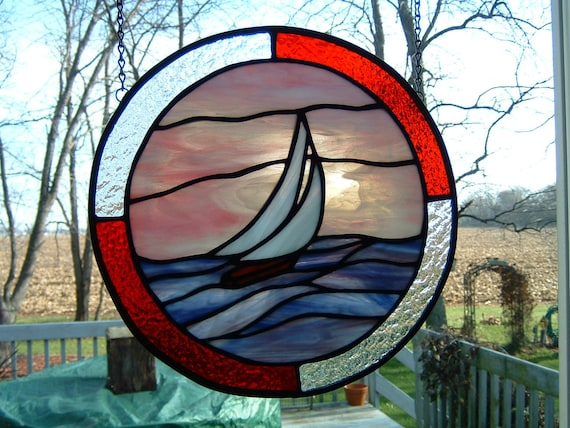 CLEARENCE Stained Glass Sailboat Panel