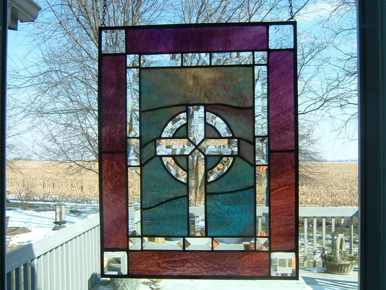 Celtic Cross Stained Glass Panel