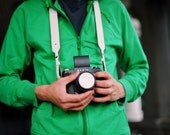 Two-sided Black n White leather camera neck strap