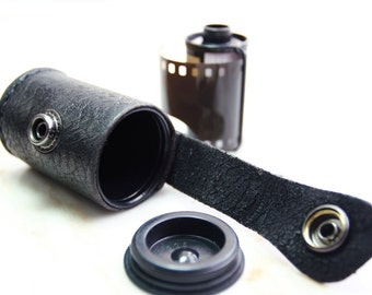 Handmade Leather 135mm film bottle case - made to order