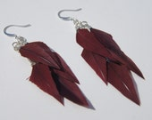Burgundy Dangly Feather Earrings